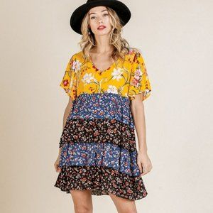 Umgee Golden Floral Mix Layered Ruffle Hem Dress